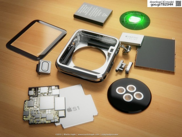 A virtual Apple Watch teardown shows the device's innards displayed on a desktop. Photo: Martin Hajek