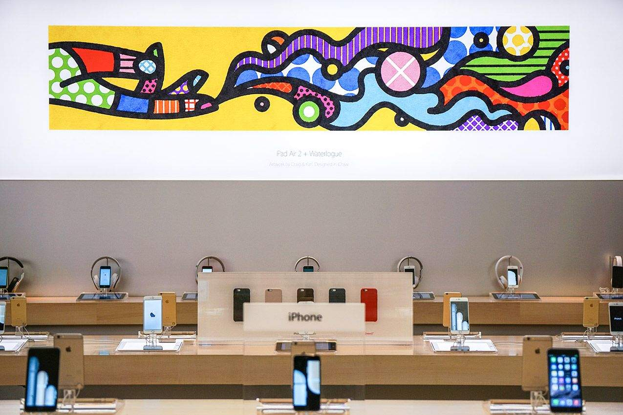 Contested artwork on display at the Apple Store. Photo: Craig & Karl