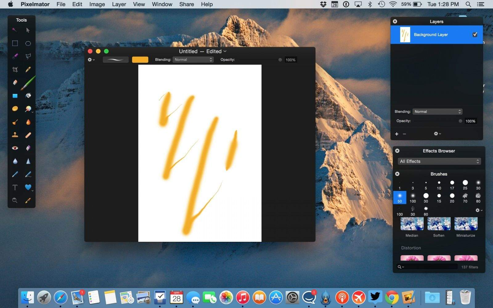 A staple Mac app now supports Apple's new trackpad. Photo: Pixelmator