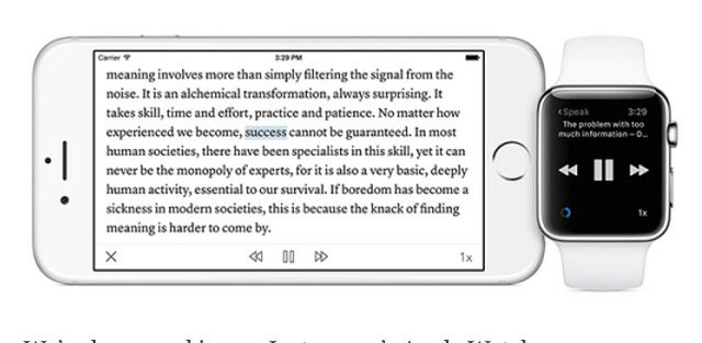 Instapaper for Apple Watch lets Siri read to you. Photo: Betaworks