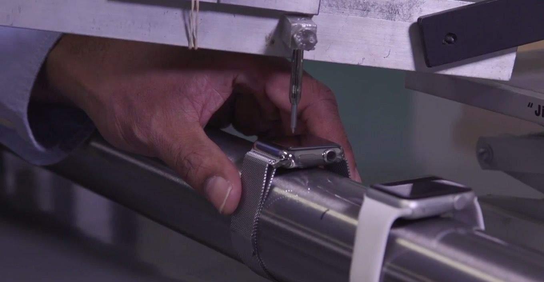 The Apple Watch glass going through a torture test. Screenshot: Cult of Mac