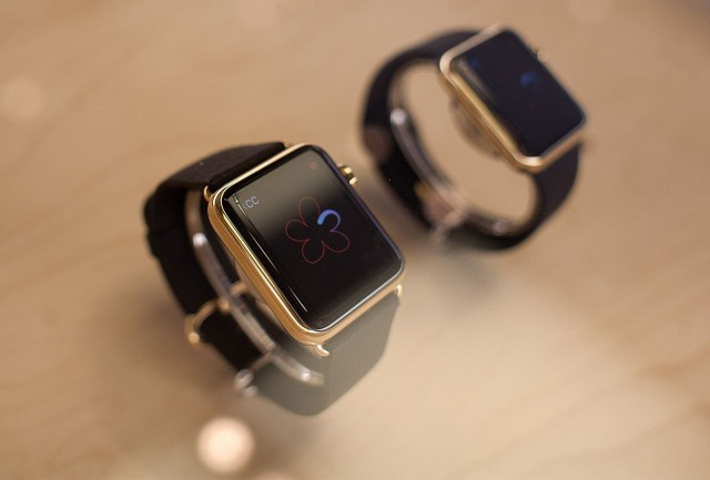 Who wants two? Gold Apple Watches on display at the downtown Chicago Apple store. Photo: David Pierini/Cult of Mac