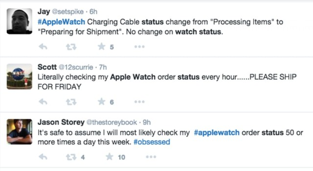 A sampling of Tweets from people excited about the status change on their Apple Watch order. Photo: Screen shot/Twitter