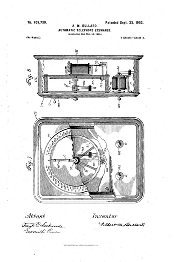 An illustration of the peg-dial mechanism filed with the original patent. Courtesy of Pete D'Acosto