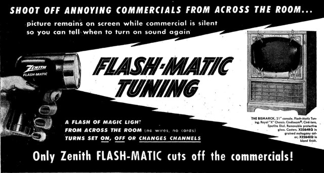 A magazine ad for Zenith's first wireless remote control, the Flash-matic.