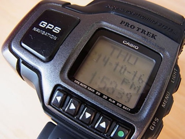 GPS became a feature of advanced outdoor watches before the close of the 20th century. Photo: bitrade_corp/eBay