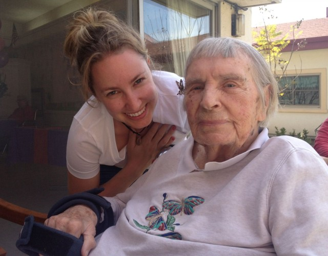 Kate Arney-Cimino, left, and her grandmother Elsie, who inspired Arney-Cimino to create the app GrandmaSays. Photo: Kate Arney-Cimino