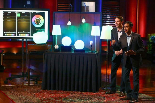 Egan and Bora making their pitch last year on Shark Tank. They won a deal with Mark Cuban. Photo: ilumi Solutions