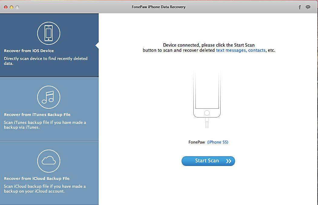 Recover lost iOS files with iPhone Data Recovery by FonePaw