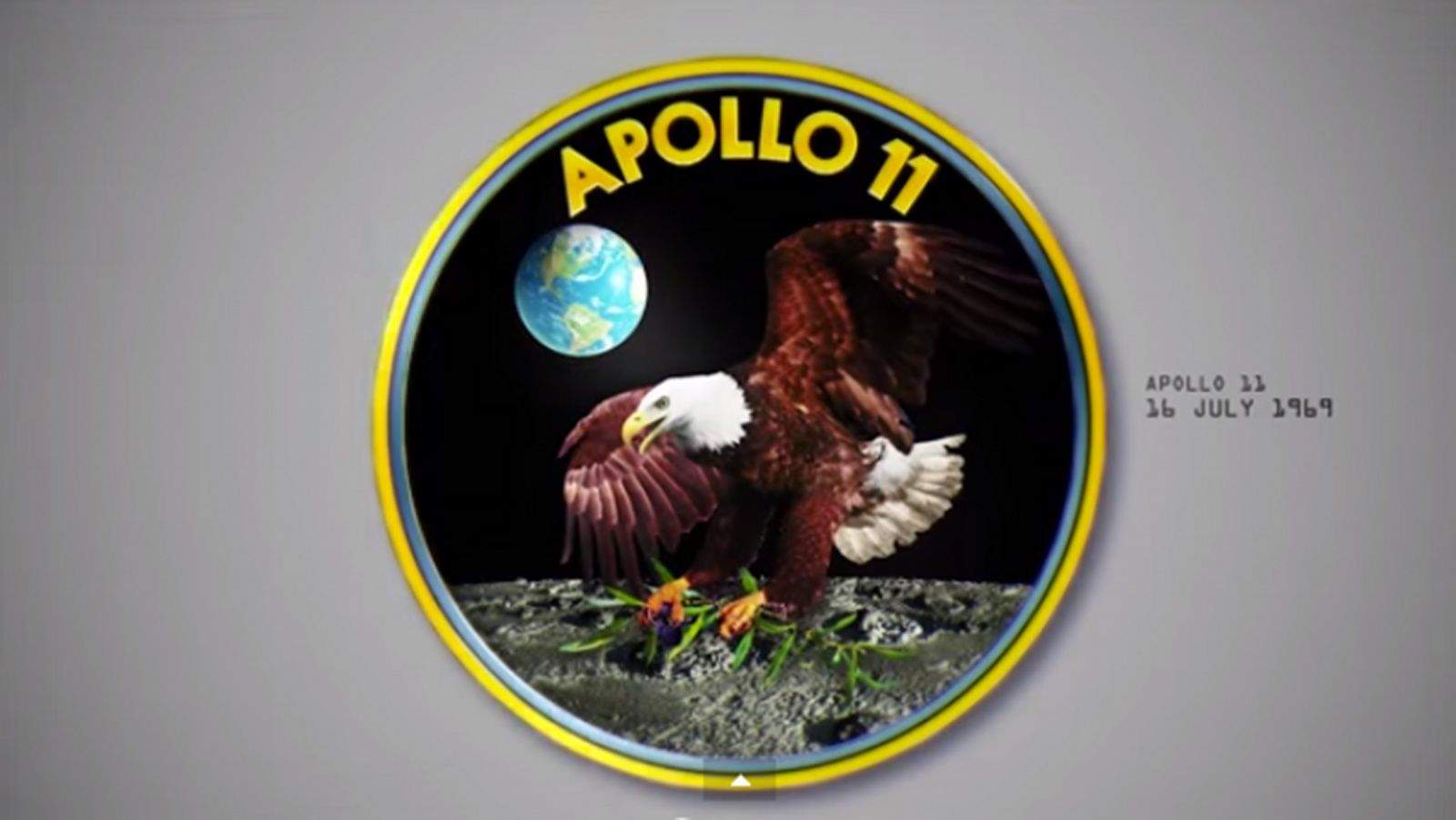 The Apollo 11 mission patch. Photo: NASA/Neil F. Smith/YouTube