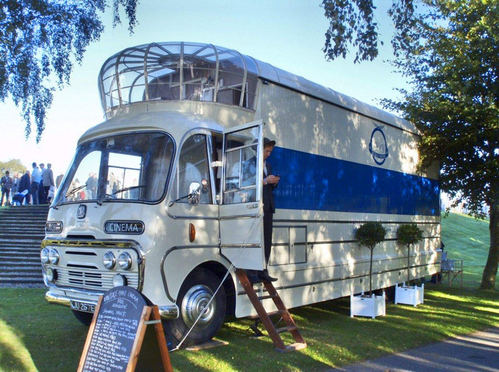 Britain's last mobile cinema, one of seven buses built by the government in the 1960s to promote modern manufacturing, is for sale on eBay. Photo: Jane Sanders