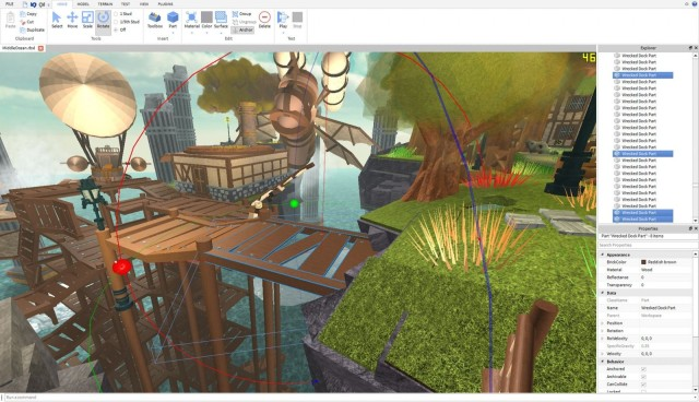 A screenshot showing the studio and toolbox young developers use on the gaming platform ROBLOX. Photo: ROBLOX