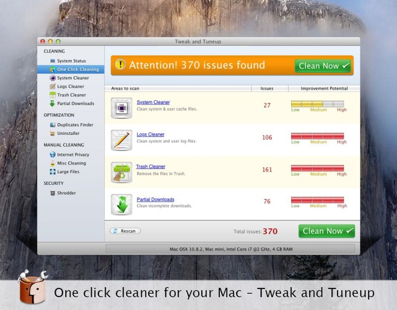 Tweak and Tuneup will get your Mac up to speed. Photo: Systweak Software