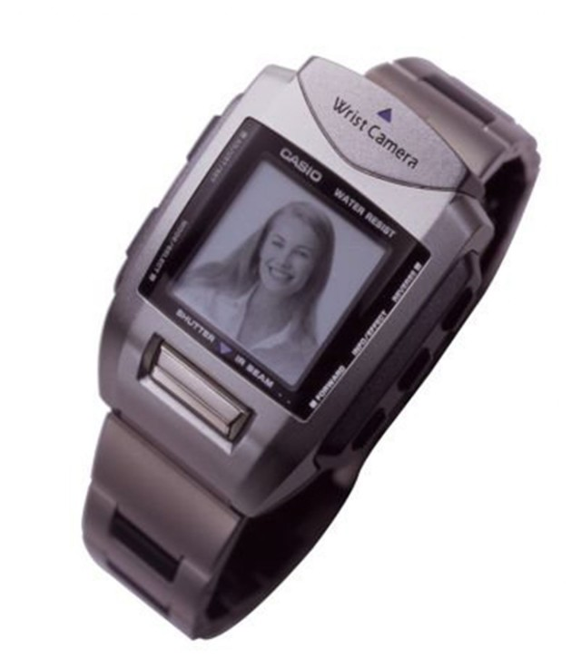 The wrist camera took small pictures that could be transmitted to a computer or to other wrist camera wearers. Photo: Casio