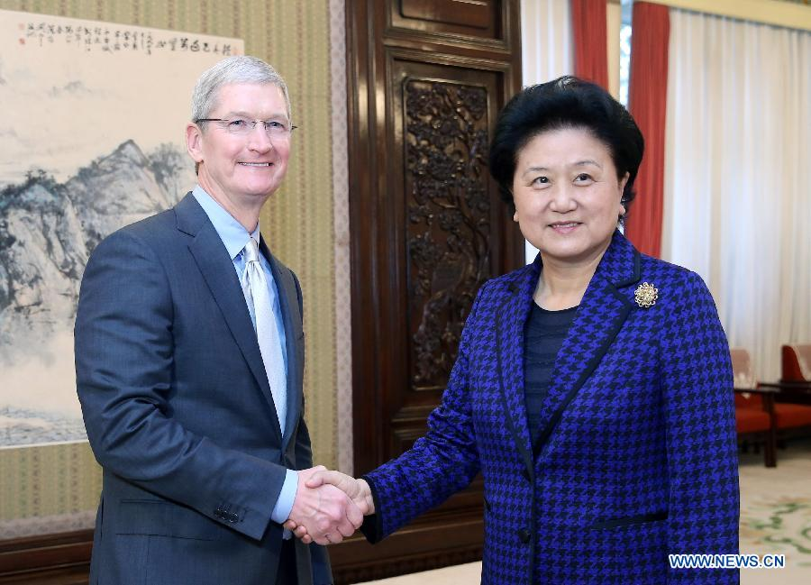 Tim Cook meets with China's vice premier