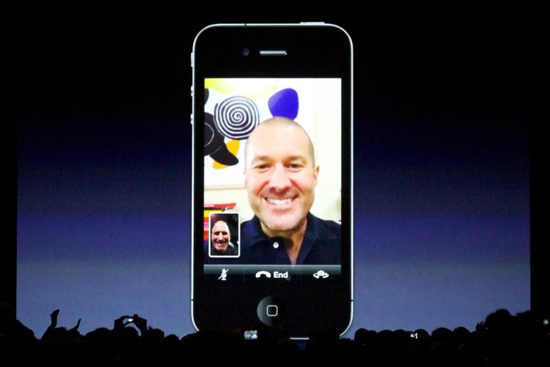 Jony Ive and Steve Jobs talk during the first public FaceTime demo, which took place at WWDC 2010 in San Francisco.