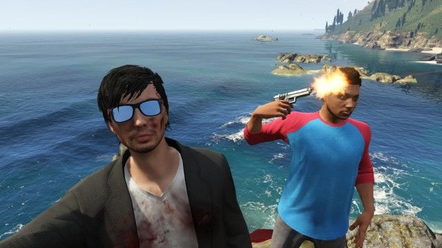 Grand Theft Auto V remains the only safe way to take a selfie with a gun.