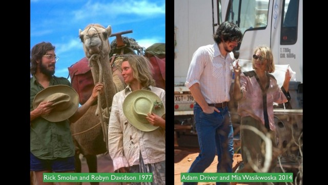 Smoland and Robyn Davidson, left, and actors Adam Driver and Mia Wasikowska. Photo: Against All Odds Productions