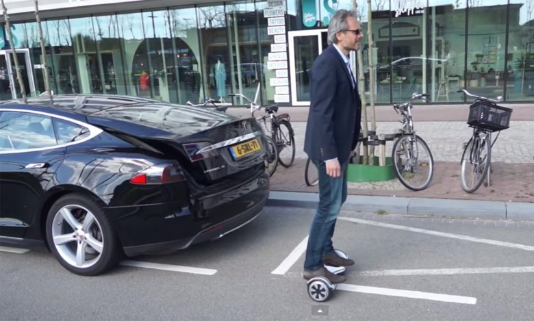The self-balancing Oxboard works like a Segway but is less bulky and needs less room to move.