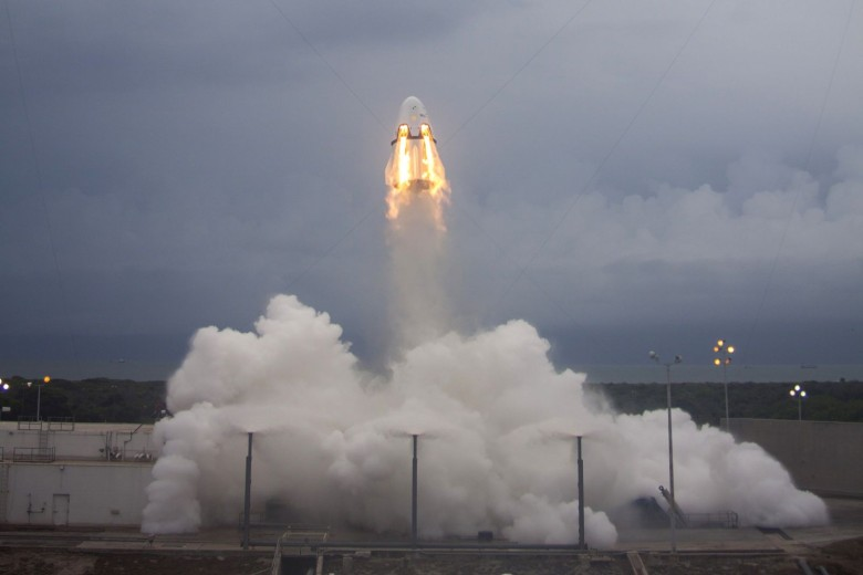 SpaceX is a step closer to manned flights after a successful test of a launch pad abort system. Photo: Space X