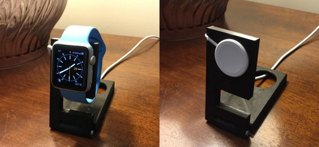An upright Apple Watch stand that folds for easy traveling.