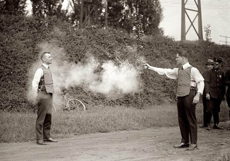 A test of a bulletproof vest in Washington D.C. in 1923.