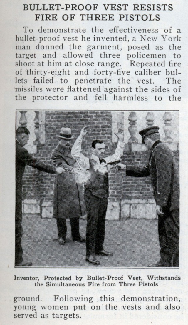 New York City police test an early version of the bulletproof vest.