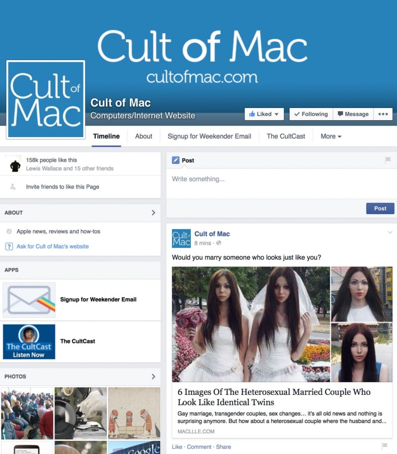 Cult of Mac's Facebook page has been taken over by hackers; and we're having trouble getting it back. It's impossible to contact Facebook.