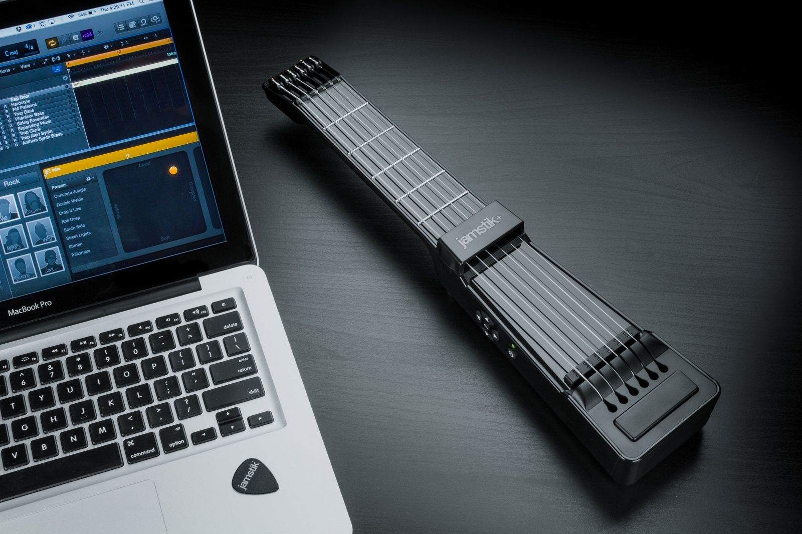 The newest Jamstik smart guitar has a magnetic pickup and Bluetooth technology.