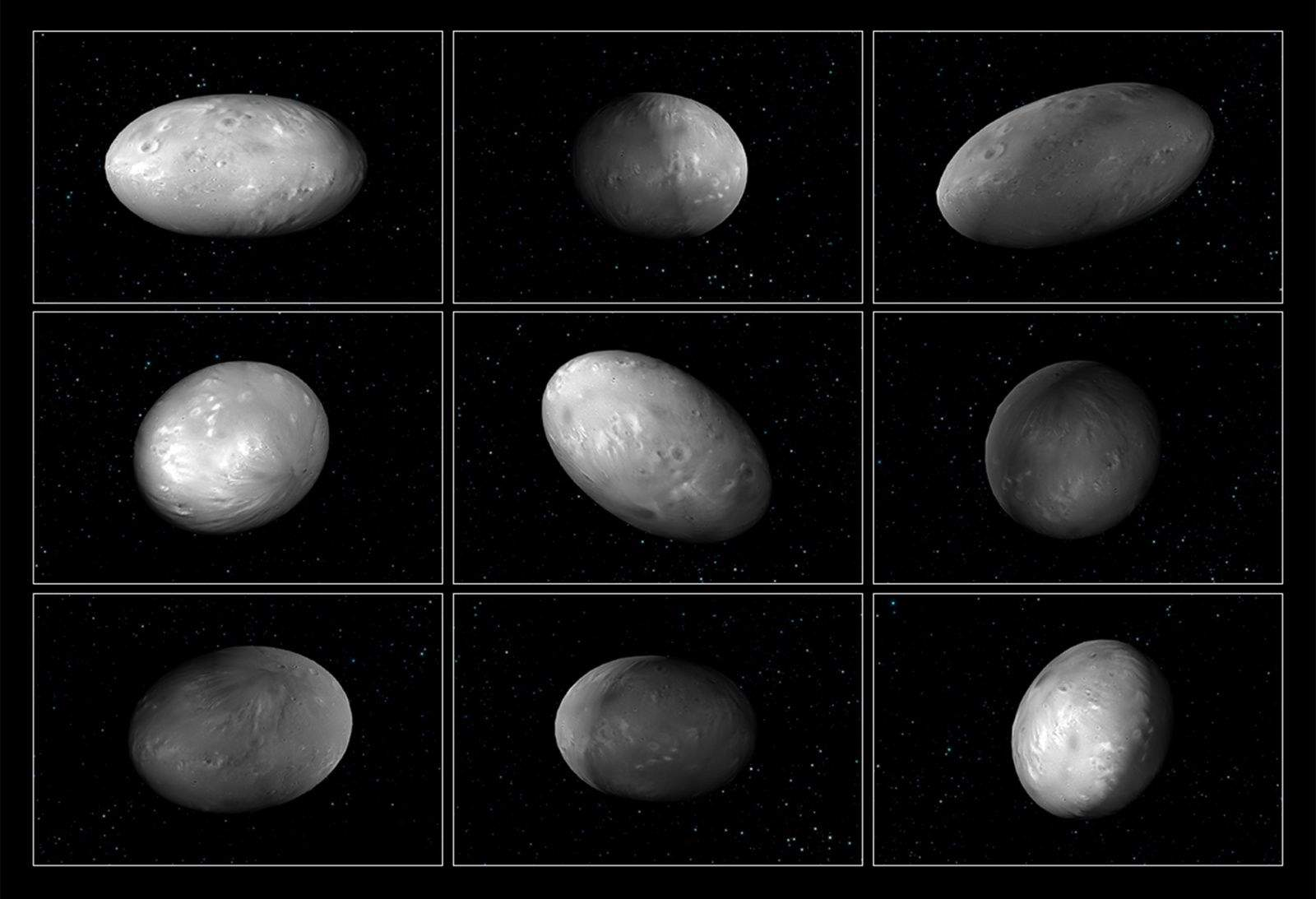 An artist's rendering shows the wobbble and oblong shape of Pluto's moon, Nix.