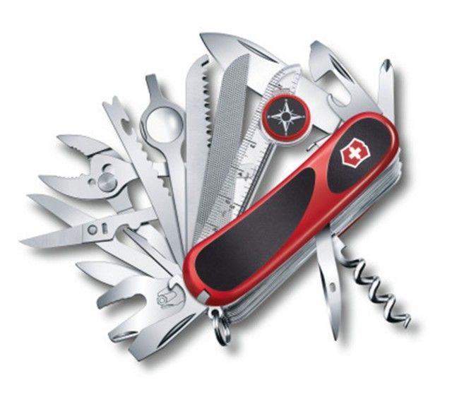 A modern Swiss Army Knife, the EvoGrip S54, features 31 implements.