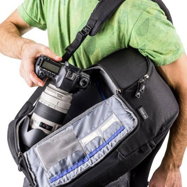 ThinkTanks Trifect backpack lets you grab gear without having to take the bag off your shoulders.