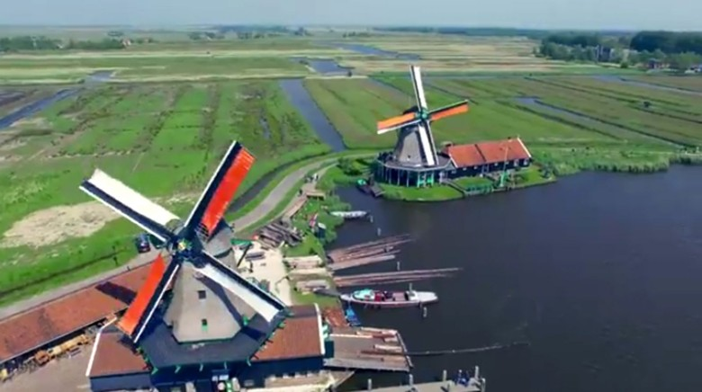 Windmills, especialy the ones near the Zaanse schans, look pretty when filmed from a drone.