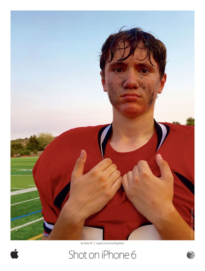 Brad Mangin's portrait of a high school football player was selected for Apple's