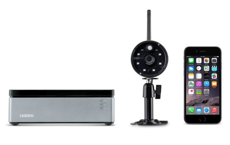 The Uniden home security system is only available from the manufacturer or Apple.