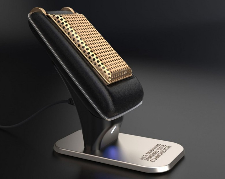 Boldly call with this authentic replica of a Star Trek communicator, a Bluetooth handset that works with any mobile device.