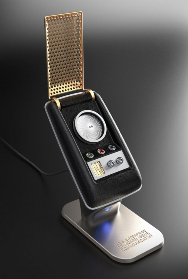 A wireless Stark Trek communicator with all the original series sound effects that works with Bluetooth technology.