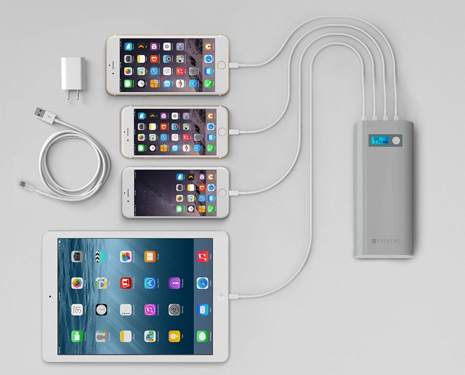 The Satechi SX20 portable power station can charge up to four devices.