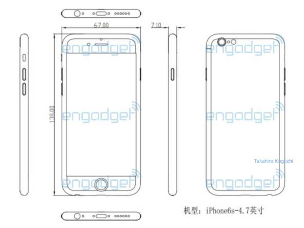 Leaked alleged schematics showing the iPhone 6s.