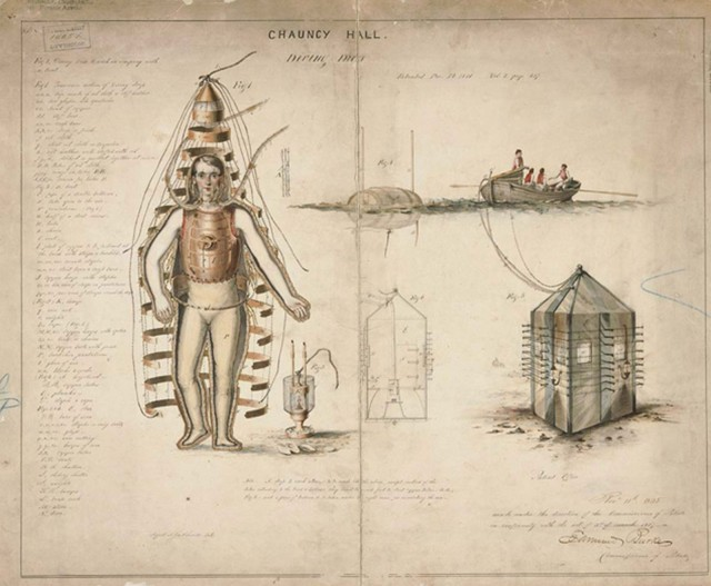 This early 1800s hundreds illustration shows a diving dress for underwater exploration.