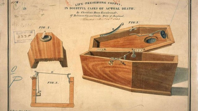 A coffin designed to make one last check to see if the person is indeed dead.