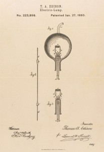 Simple and now iconic, the Edison lightbulb as it appeared in his application for a patent.