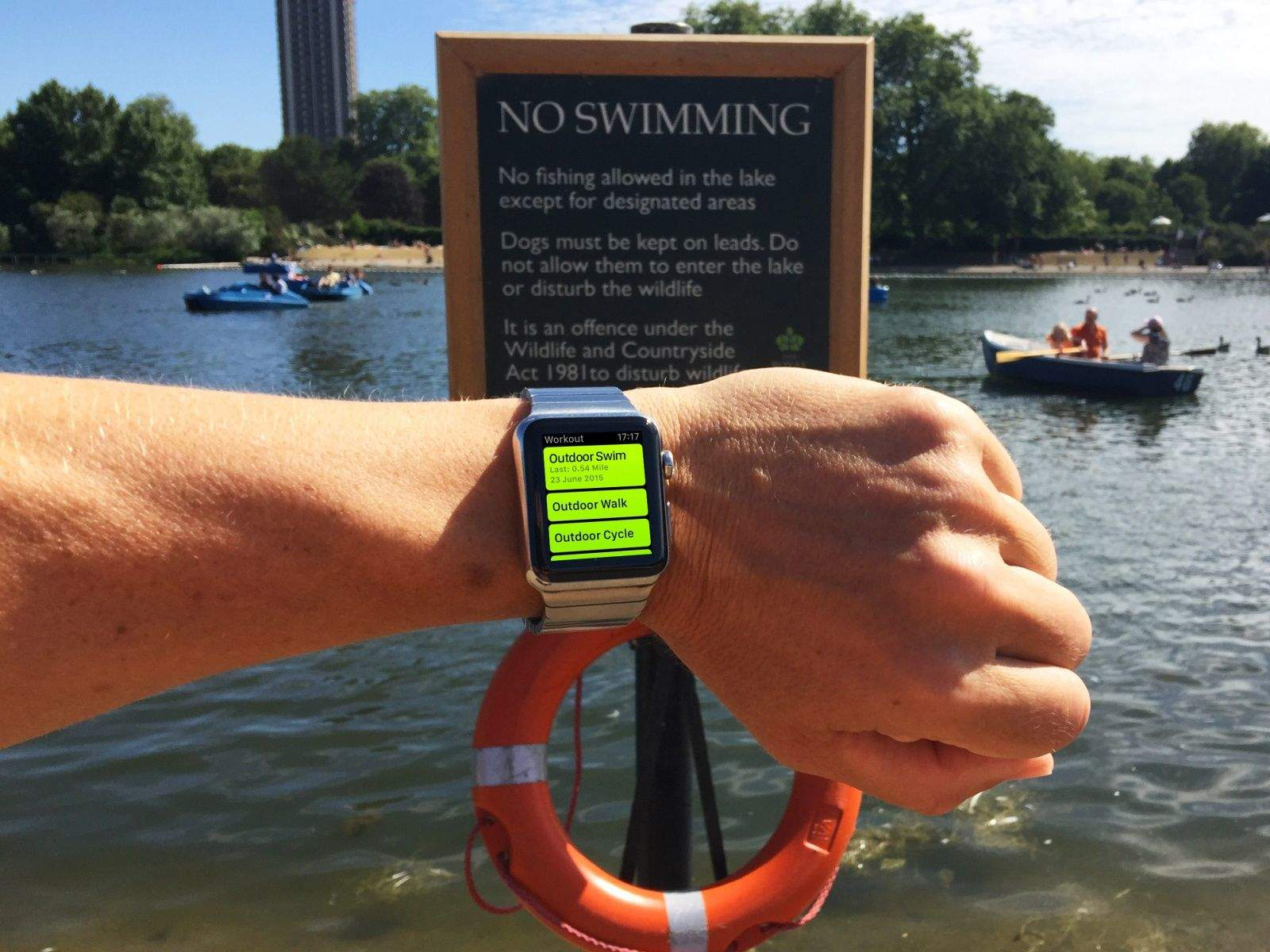 No swimming - Apple Watch is water resistant but not waterproof