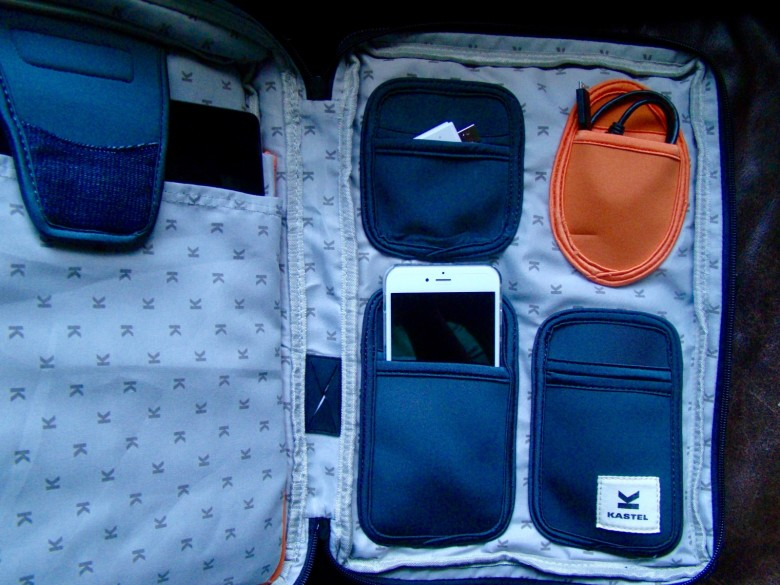The interior has several pockets, making organization a treat.