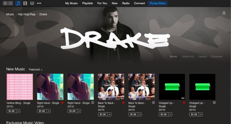 Drake's iTunes page. The Apple Music exclusive artist is not supposed to stream on other services.