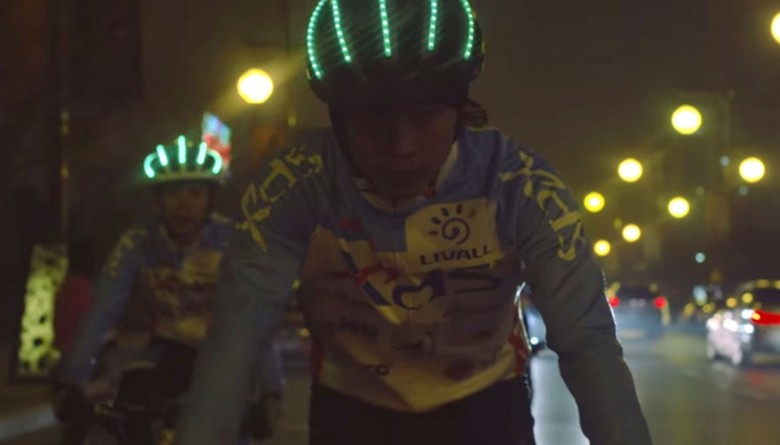 The Bling helmet by LIVALL features LED lights for turn signals and night riding along with Bluetooth speakers for safe phone calls and music listening.