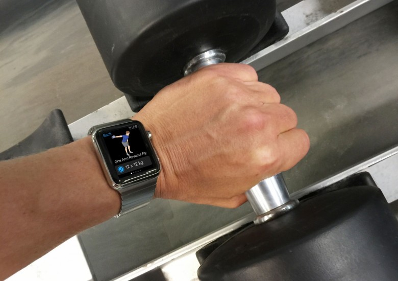 Stainless steel Apple Watch meets pumping iron.