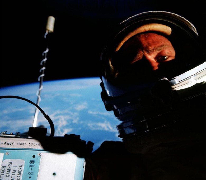 Buzz Aldrin took the first selfie from space in 1966 and then posted it to Twitter 48 years later.