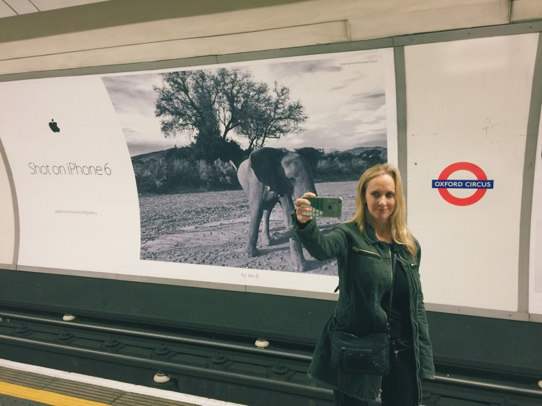 Pollack Bianco catching up with her elephant ad in London.