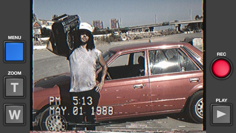 Set your iPhone video camera on 1985 with the VHS Camcorder app.